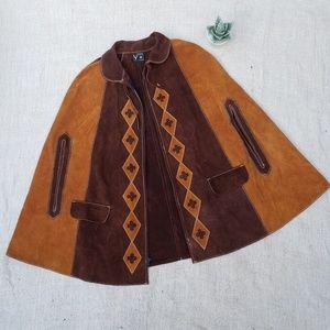 Vintage 70s Suede Leather Southwest Capelet